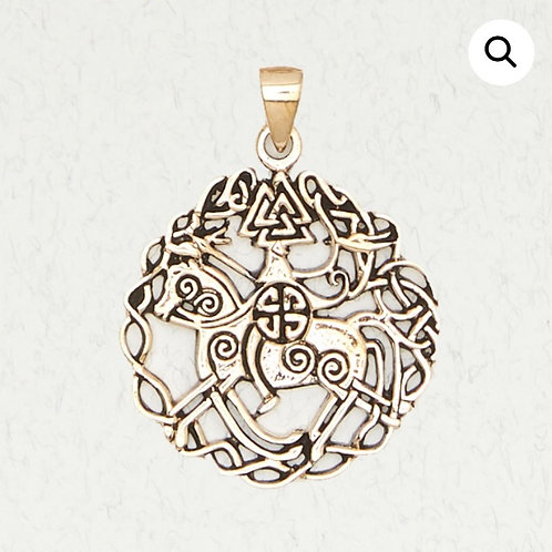 Bronze Odin on Sleipnir w/ Valknut Pendant