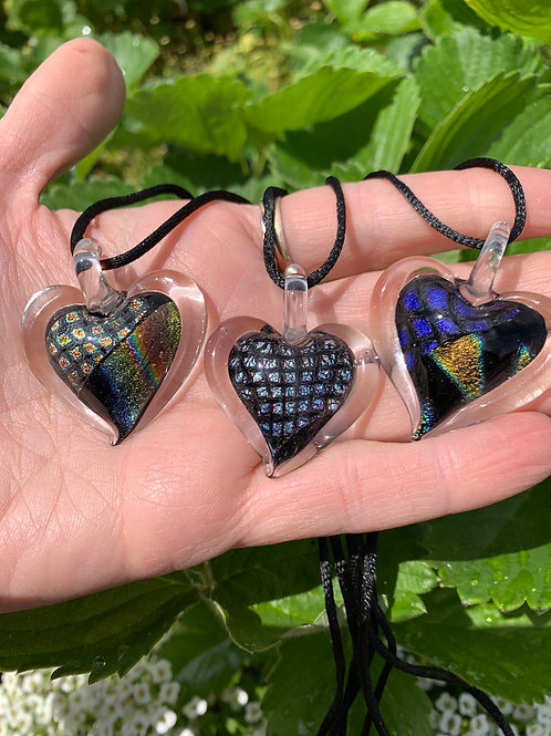 Dichroic Glass Heart Pendants