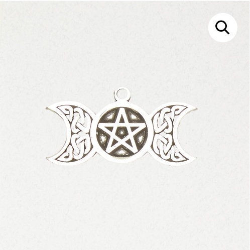 Triple Moon (Goddess) Pentacle (Pentagram) Pendant