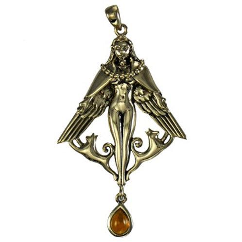 Freya & Amber Bronze Pendant
