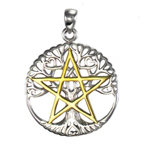 Gold & Silver Pentagram Tree Pendant