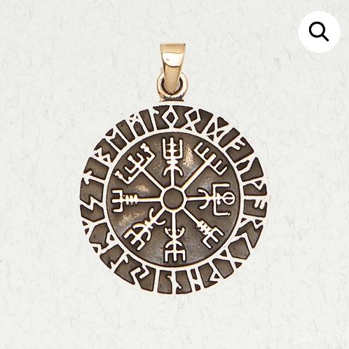 Bronze Vegvisir Runic Compass & Runes Pendant