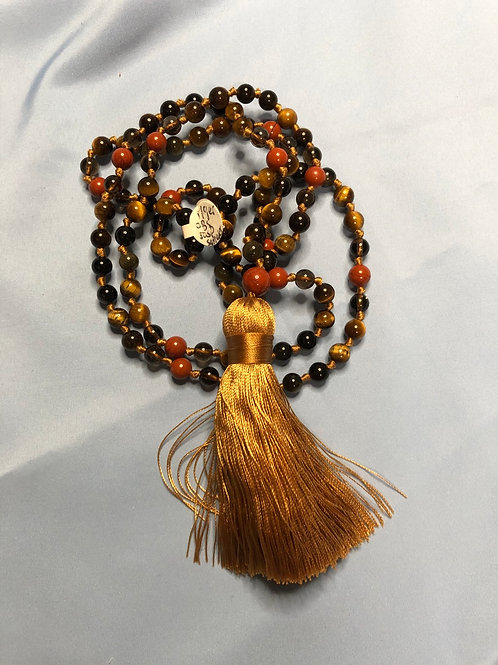 Obsidian/Smokey/Jasper/Tiger's Eye Mala (Prayer Beads)
