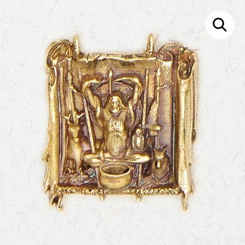Bronze  Cernunnos & Cauldron Horned God Pendant