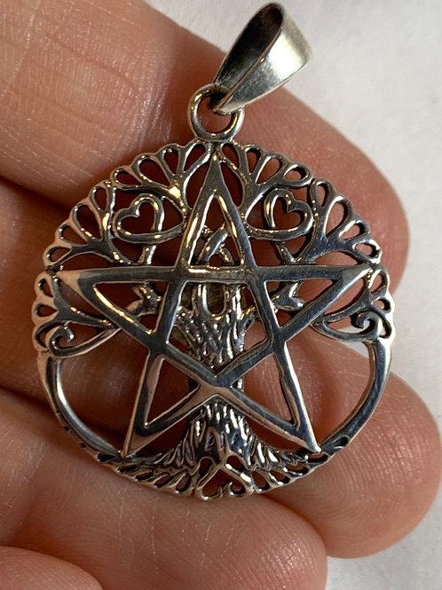 Pentacle (Pentagram)Tree of Life Pendant (sterling silver)