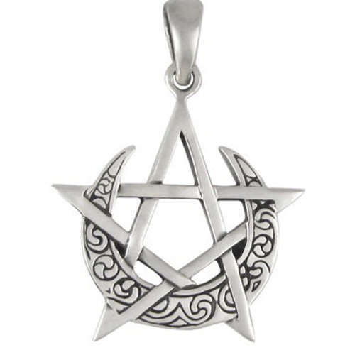 Pentacle w/ Crescent Moon (silver, small)