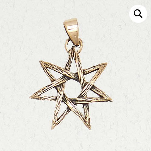 Bronze 7 (seven) Pointed Star (heptagram) Pendant