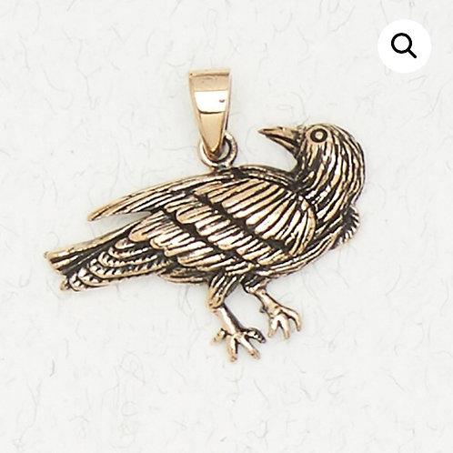 Bronze Raven Pendant