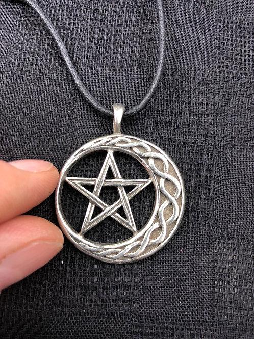Pentagram & Crescent Moon Pendant