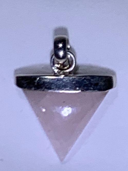 Rose Quartz Pendant, Triangle (RQ8)
