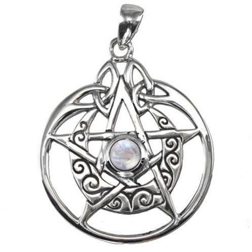 Silver Pentagram Crescent Moon w/ Moonstone