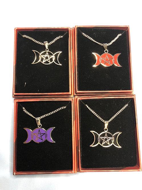 Triple Moon /Goddess Pentagram Pendant