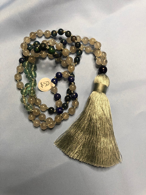 Fluorite/Labradorite/Azurmalachite/Kyanite Mala (Prayer Beads)