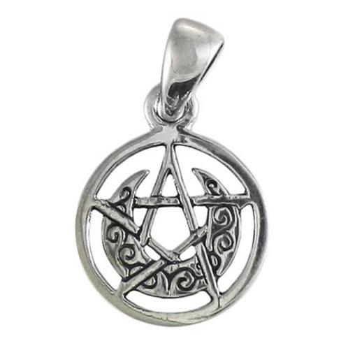 Pentagram Crescent Moon (silver, tiny)