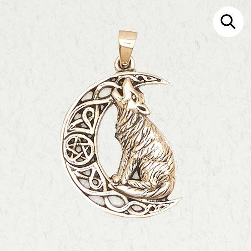 Bronze Howling Wolf Crescent Moon Pentacle (Pentagram) Pendant