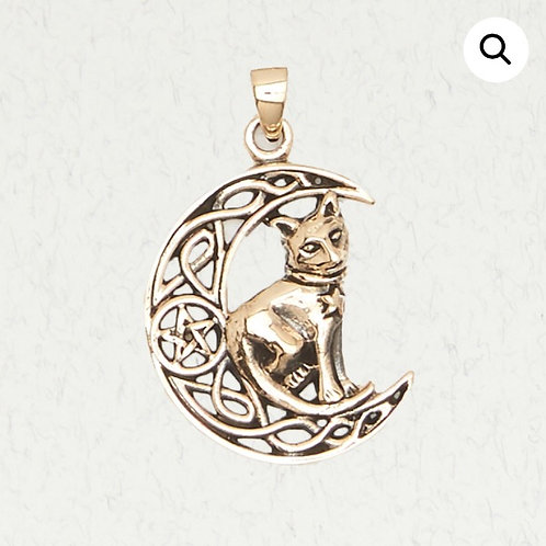 Bronze Moon, Cat & Pentacle (Pentagram) Pendant