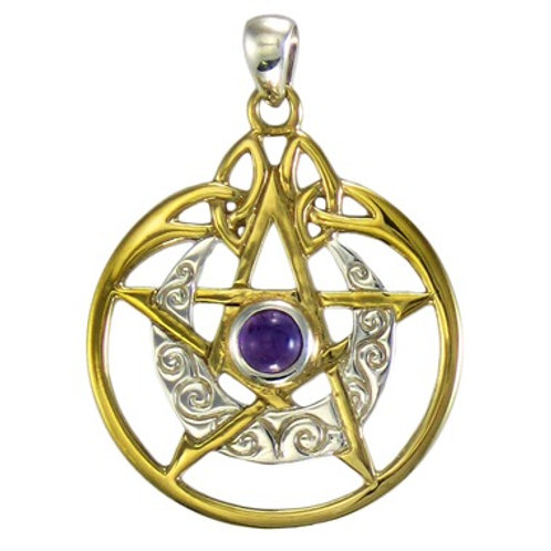 Gold & Silver Amethyst Pentagram Pendant