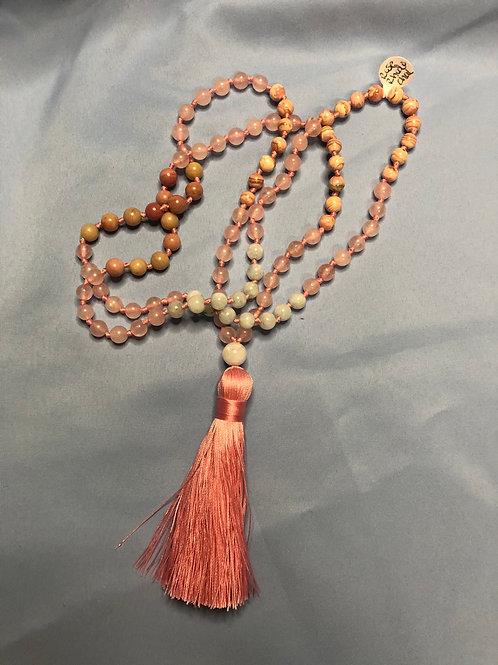 Rose Quartz/Rhodonite/Thidochrosite/Chalcedony Mala (Prayer Beads)