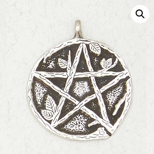 Pentacle (Pentagram) & Leaves Pendant