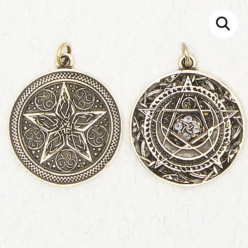 Bronze 2 Sided Pentacle (Pentagram) Pendant