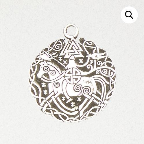 Pewter Odin on Sleipnir w/ Valknut Pendant