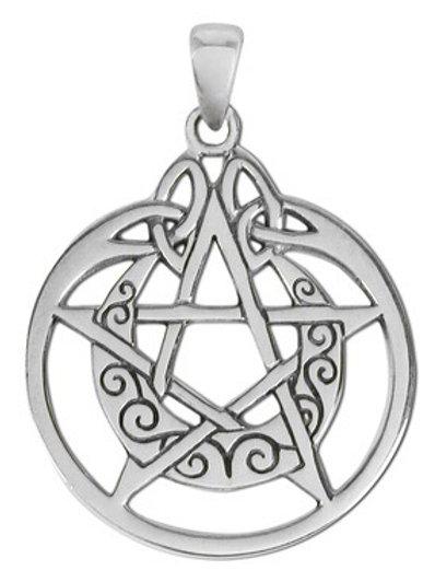 Silver Pentagram and Crescent Moon Pendant