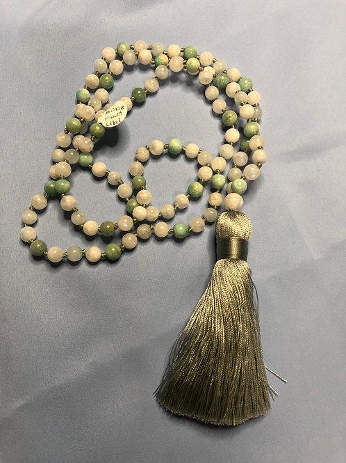 Amazonite/Moonstone/Chalcedony Mala (Prayer Beads)