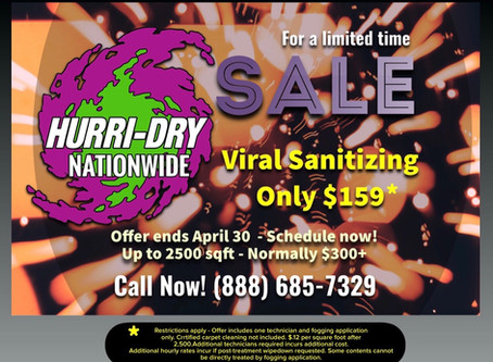 Hurri-Dry Nationwide offers April promotion for discounted viral sanitizing service