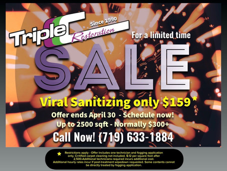 Triple C Restoration offers April 2020 promotion for discounted viral sanitizing service