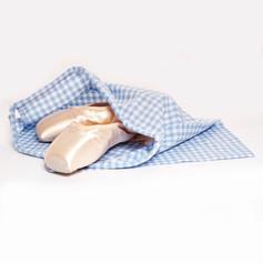 Regulation blue checked ballet bag.