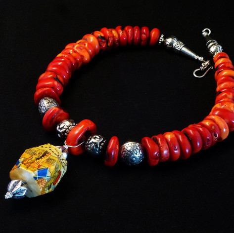 Coral necklace with Tribal Beads