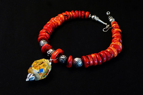 Coral necklace with Tribal Beads and a Pendant