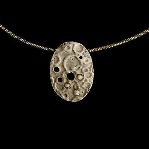 Silver Mooned Surface Necklace