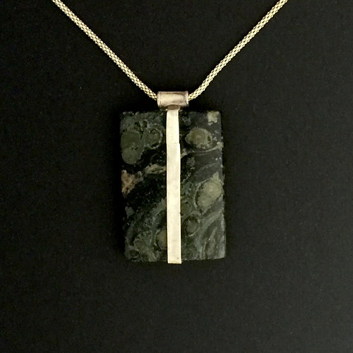 Silver Vertical Bezeled Stone Pendant