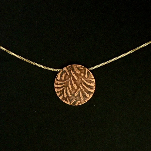 Meteors Etched Copper Pendant