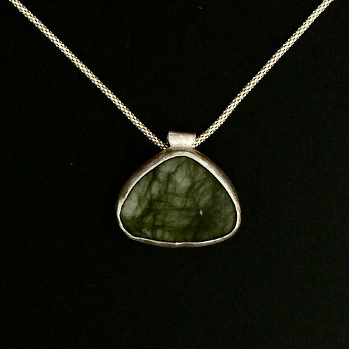 Silver Bezeled Soft Triangle Pendant