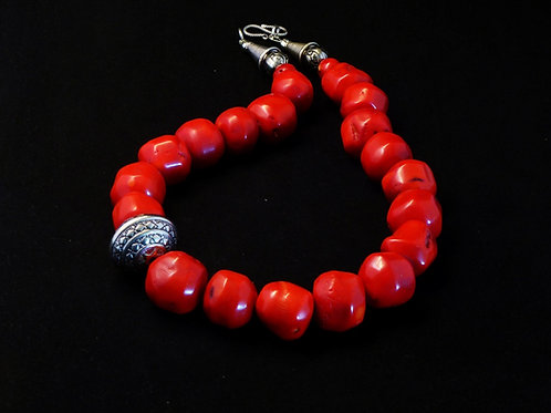 Coral necklace with Tribal Bead