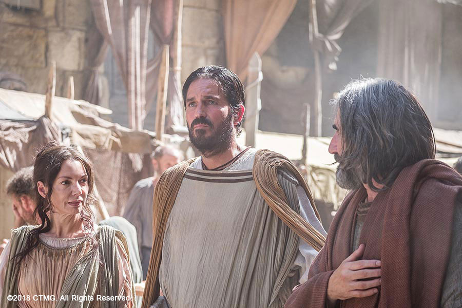 Joanne Whalley, Jim Caviezel, and John Lynch in 'Paul, Apostle of Christ'