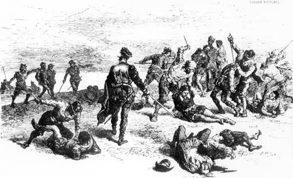 Spanish slaughter of the French Huguenots near St. Augustine, Florida. Image in public domain.