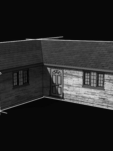 Black and white render of approved bungalow in Madeley, Telford.