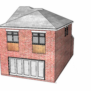 Rear view of approved planning application for two-storey side extension and porch with loft conversion in Hanley, Stoke-on-Trent.