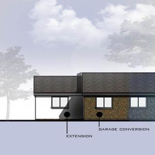 Conversion of garage to bedroom.