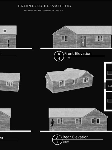 Elevations and Floorplans of Approved Bungalow in Madeley, Telford.