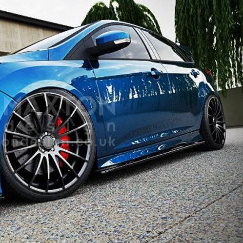 GLOSS BLACK SIDE SKIRTS DIFFUSERS FORD FOCUS MK3 ST