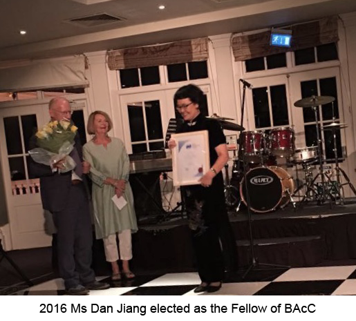 Ms Dan Jiang is the first Chinese Fellow of the BAcC