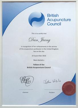 Ms Dan Jiang's certificate as the FBAcC