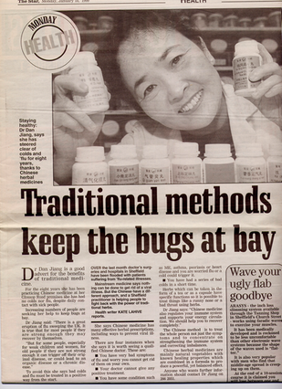 Traditional Methods Keeps The Bug Away - An early newpaper coverage of Ms Dan Jiang's successful treatment story by the Sheffield Star