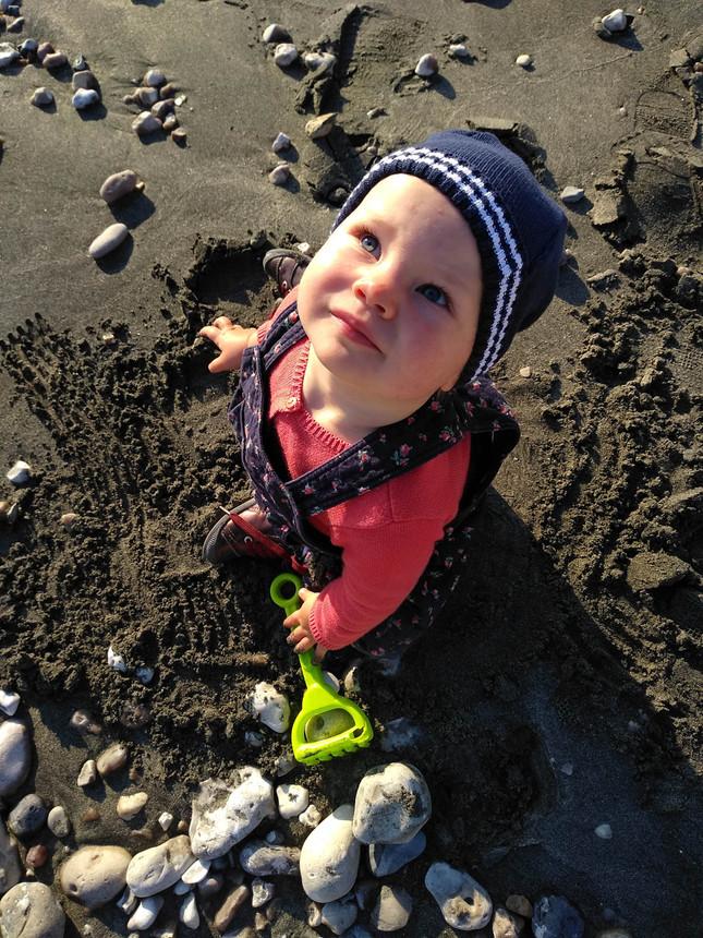 photo de bébé sur la plage de Saint Jouin Bruneval