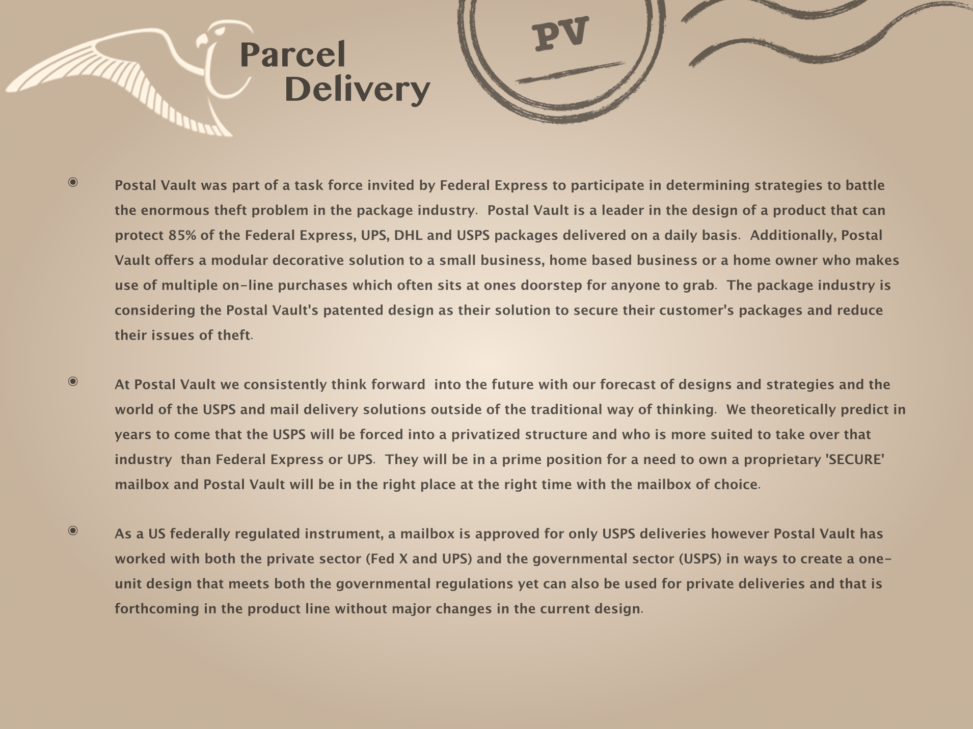Postal Vault Parcel Delivery