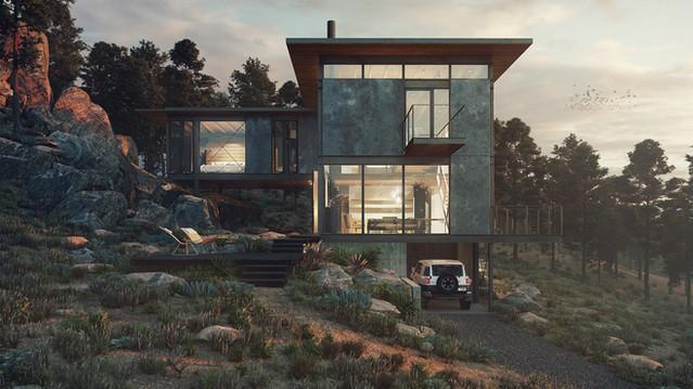 House near the rocks